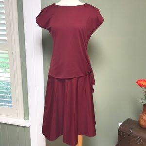Vintage Miss Shaheen Maroon 2-Piece Skirt & Blouse